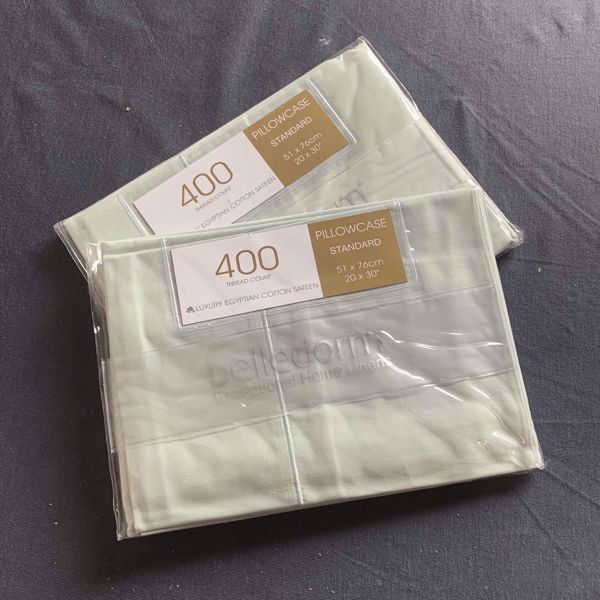 Picture of Belledorm 400tc Luxury Egyptian Cotton Sateen Pillowcases - Thyme Green