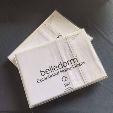 Picture of Belledorm 450 Thread Count 100% Pima Cotton Sateen Standard Pillowcases - White