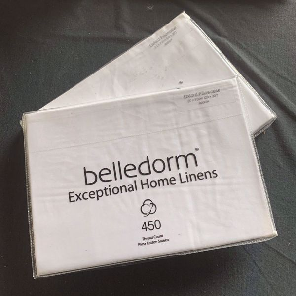 Picture of Belledorm 450 Thread Count 100% Pima Cotton Sateen Oxford Pillowcases - White