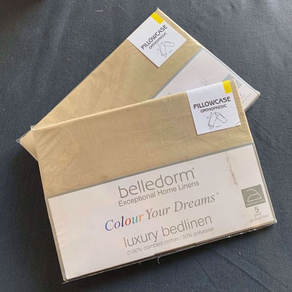 Picture of Belledorm Luxury Bedlinen Polycotton Orthopaedic V Shaped Pillowcases - Walnut Whip
