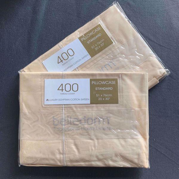 Picture of Belledorm 400tc Luxury Egyptian Cotton Sateen Pillowcases - Cream