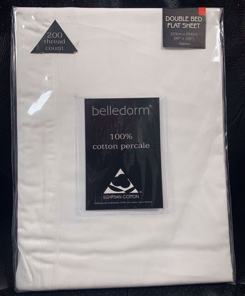 Picture of Belledorm  200tc 100% Egyptian Cotton Double Flat Sheet - White